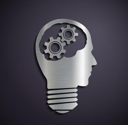 Flat metallic icon head with mechanical gears. Vector image. Vector