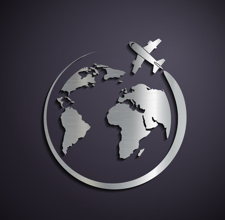 Flat metallic icon of the aircraft and the planet earth. Vector image.