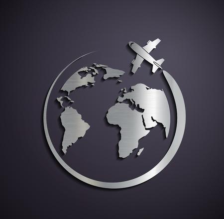 logotipo turismo: Icono metálica plana de la aeronave y el planeta tierra. Vector imagen.