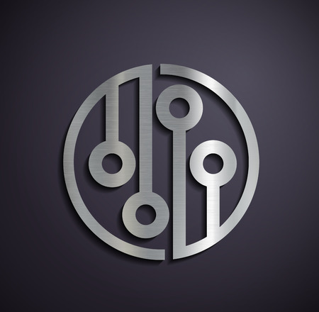 network logo: Flat metallic logo microchip. Vector image.