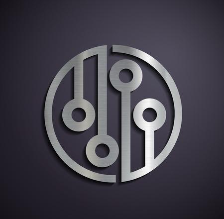 Flat metallic logo microchip. Vector image.