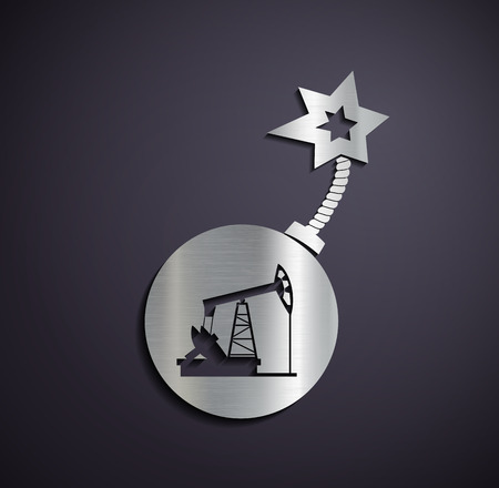 oilwell: Flat metallic icon pump for oil. Vector image. Illustration