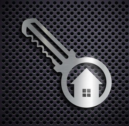 icon key: Flat metallic icon key. Vector image. Illustration