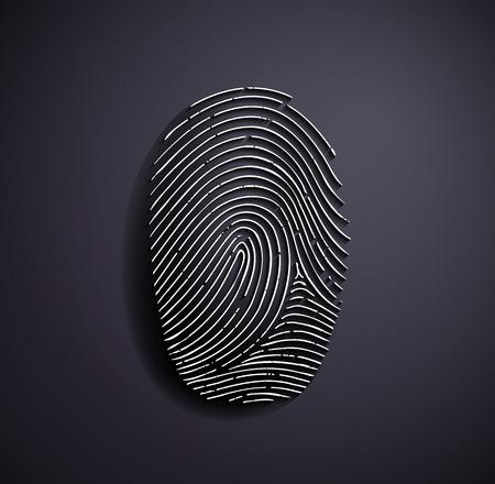 thumbs: Flat metallic icon fingerprint. Vector image. Illustration