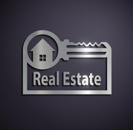Flat metallic icon real estate. Vector image.