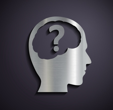 unsolvable: Flat metallic icon of a human head. Vector image.
