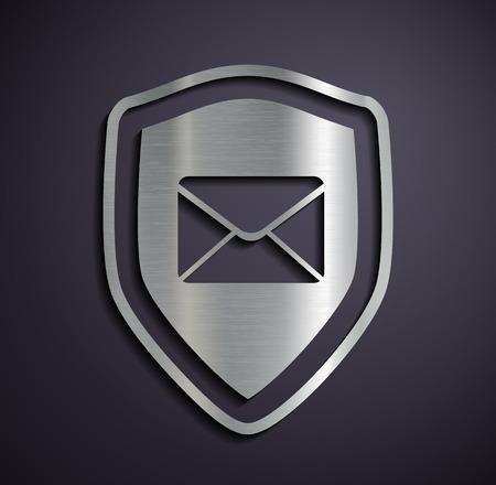 metal mailbox: Flat metallic logo shield with envelope. Vector image.