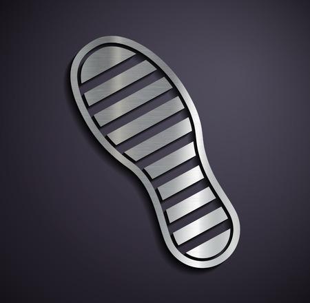huellas: Metálicos icono huellas planas. Vector imagen. Vectores
