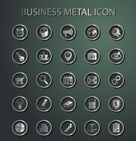 time money: Vector metal Business Icons. Isolation on a green background Illustration