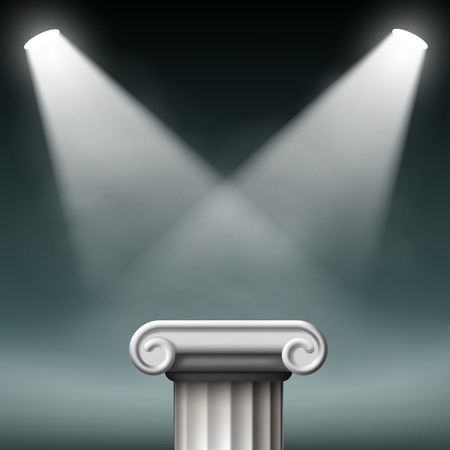 storefronts: White ancient columns illuminated with floodlights. Vector Illustration.