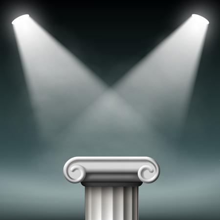 doric: White ancient columns illuminated with floodlights. Vector Illustration.