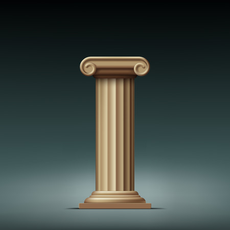 Antique beige column. Vector illustration.