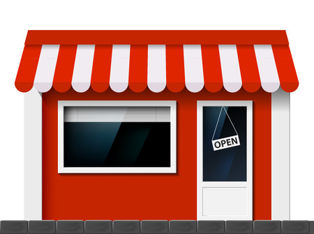 cartoon window: The facade of the building. Vector image of store.