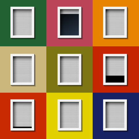 glass office: Facade with windows and colored wall. Vector image.
