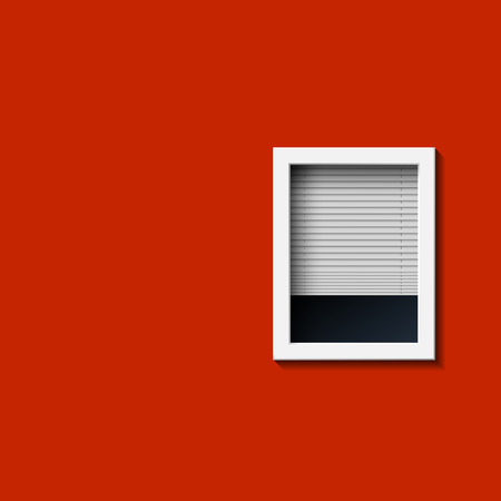 blind: Window on a red wall. Vector image.