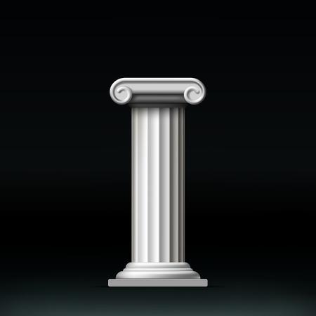 Antique white column. Vector illustration. Illustration