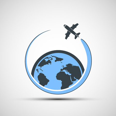fly around: icon airplane fly around the earth. Vector image.