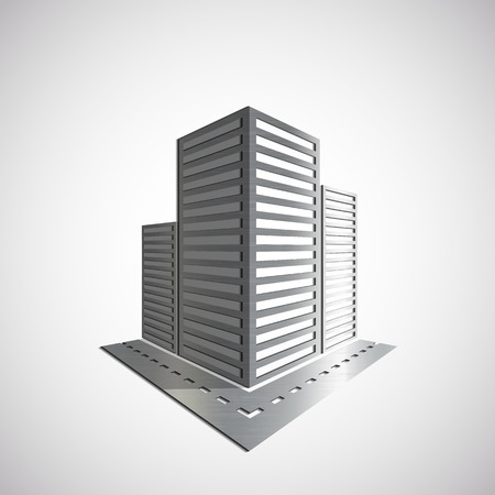 penthouse: Metal icon of the real estate. Vector image.