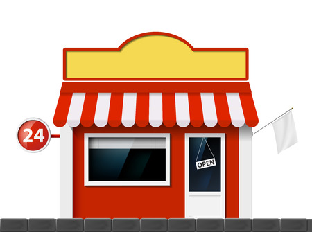 The facade of the building of the store. Vector image. Vector