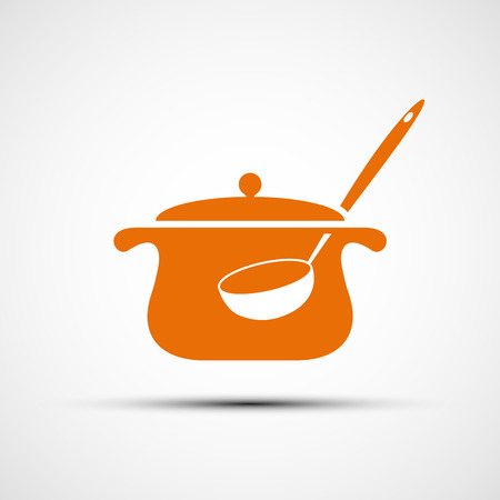 broth: icon pan with a ladle. Vector image.