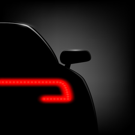 nighttime: Car silhouette on a black background. Vector image. Illustration