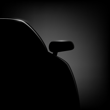 Car silhouette on a black background. Vector image. 向量圖像