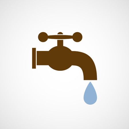 faucet water:  tap with a drop of water. Vector image. Illustration