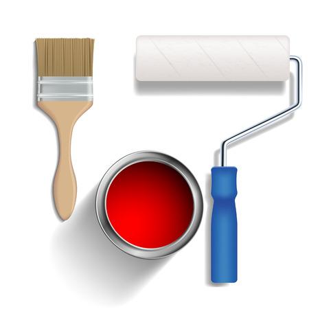 Rouleau de peinture, un pinceau et un seau de peinture. Vecteur isolé sur fond blanc