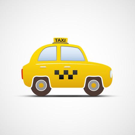 taxi: taxi coche aislado en el fondo blanco. Imagen del vector.