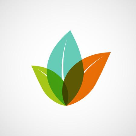 アイコン カラフルな葉を持つ植物。ベクター画像。