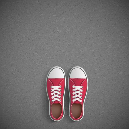tearing down: Vintage sneakers stand on asphalt. Vector image. Illustration