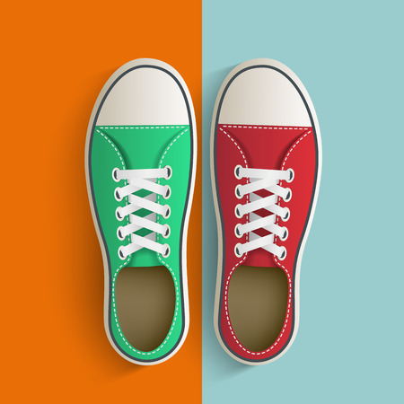 tearing down: Old vintage sneakers. Vector image. Illustration
