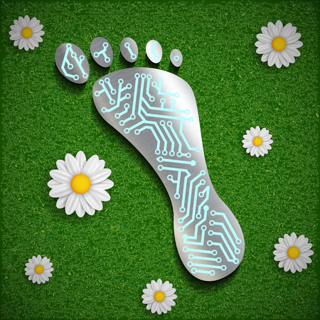 flower power: Footprint with a chip on the surface of the grass. Vector image.