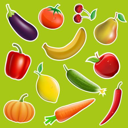 Owoce i warzywa w formie naklejek. Obrazu wektorowego. Ilustracje wektorowe