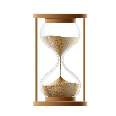 sands of time: hourglass isolated on white background. Vector image.
