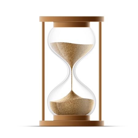 arena: reloj de arena aislado en fondo blanco. Vector imagen.