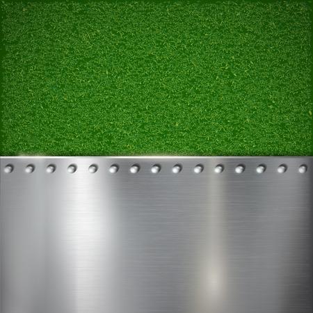 pavimento lucido: Sfondo di erba e metallo lucido. Immagine vettoriale.