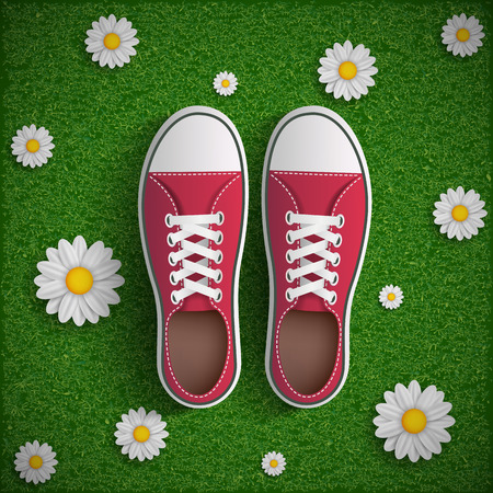 adolescence: Vintage sneakers standing on green grass with flowers. Vector image.