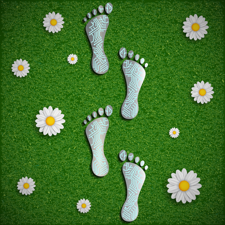 metal legs: Footprint with a chip on the surface of the grass. Vector image.