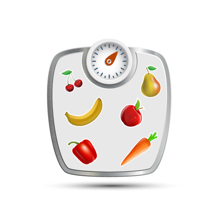 fatness: Scales for weighing with fruits and vegetables. Vector image.