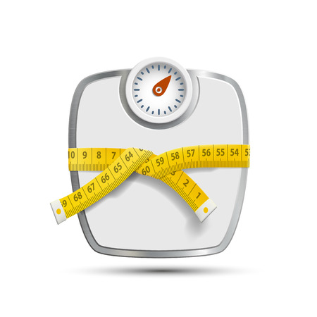 weight control: Scales for weighing with the measuring tape. Vector image.