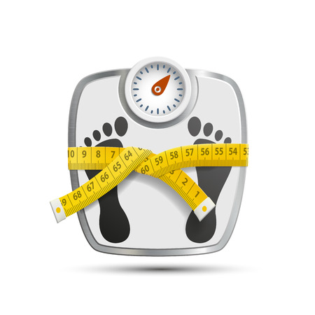 Scales for weighing with the measuring tape. Vector image.