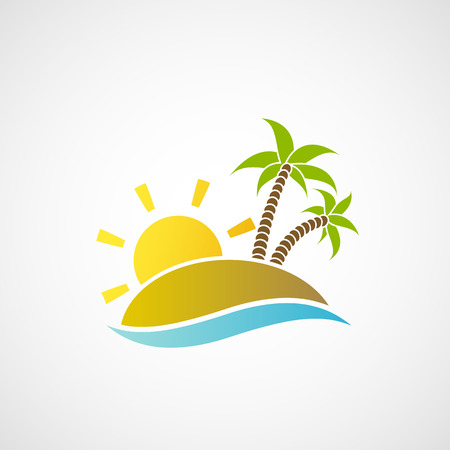 beach illustration: beach with palm trees, the ocean and the sun. Vector image.