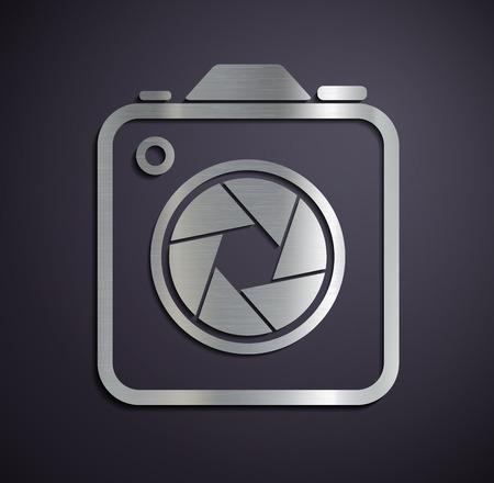 Logo of metal camera. Vector image.