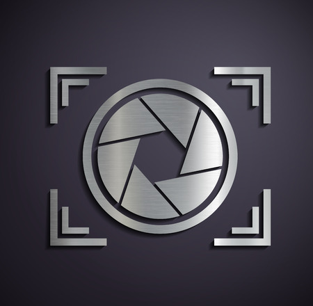 shutter aperture: Metal icon camera. Vector image. Illustration