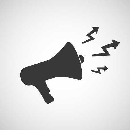 governor: icon megaphone with arrows. Vector image.