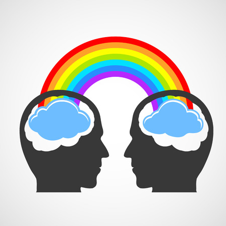 Silhouette of a man's head with a rainbow and clouds. Vector image.