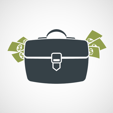 loot: Briefcase with money sticking out. Vector image.