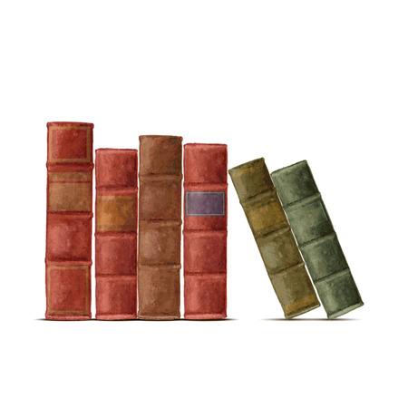 libros antiguos: Acuarela libros viejos. Aislado en el fondo blanco Stock Vector.