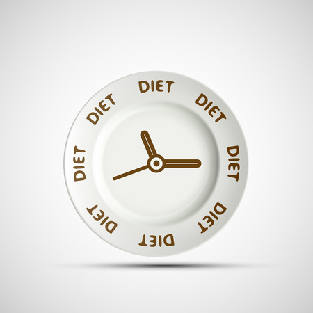 starvation: Plate as a clock and the words diet. Vector image.